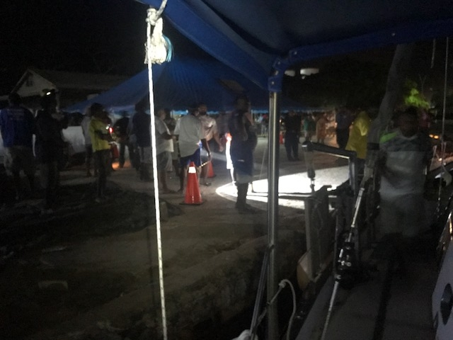 Official reception and registration of evacuated passengers at Luganville tonight